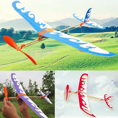 DIY Rubber Band Powered Glider Plane Aircraft Kit Flying Model Kids Toy