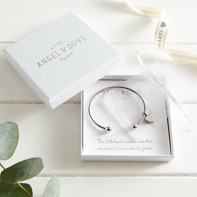 Heart Cremation Ashes Remembrance Bangle Bracelet in Gift Box - Sympathy Gift