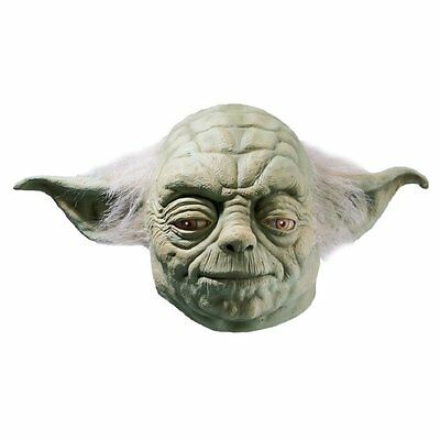 Mens Adult Star Wars Yoda Full Latex Mask Licensed Fancy Dress Costume Accessory
