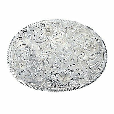 Montana Silversmith Oval Silver Engraved Western Belt Buckle with Etched Trim