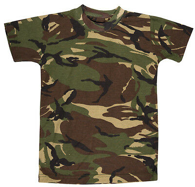 Kids Boys Camouflage T-shirt Army Woodland Camo Military School PE Top 2-13 Yrs