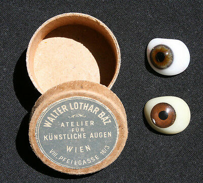 AUSTRIA - Vintage Porcelain PROSTHETIC Artificial GLASS EYES with Box - Vienna