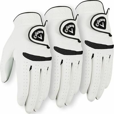 **Pack of 3** Callaway 2016 Weather Spann Mens All Weather Golf Glove Left Hand