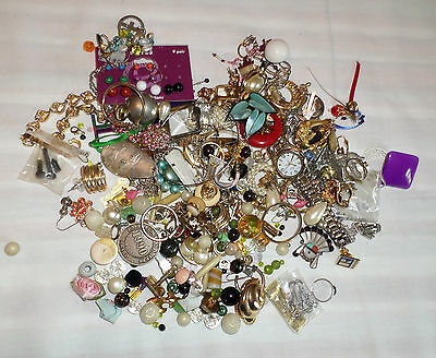 Estate Lot of Mixed Jewelry Broken Scrap & Wear Earrings Necklace Watch (K191)