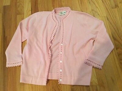 Vintage Dalton Womens 100% Virgin Cashmere Cardigan Sweater Pink Pearl Buttons