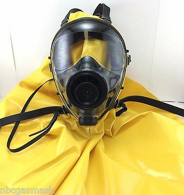 Mestel Safety SGE 400 40mm NATO NBC Gas Mask w/Protective Hood, Made in 7/2017 !