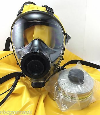 Mestel Safety SGE 400 40mm NATO Gas Mask w/Hood, Made in 2016 + NEW NBC Filter !