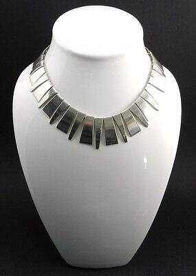 Mexico Sterling Silver Modern Fringe Choker Necklace