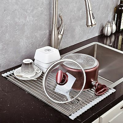 Over The Sink Kitchen Dish Drainer Drying Rack Roll Up Folding Stainless Steel