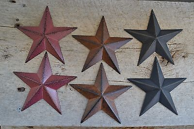 "Set of 6 ~ 5.5""  BURGUNDY RUSTY BLACK BARN STARS Metal Primitive Country 5 1/2"""