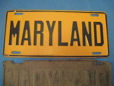 1955 Maryland front booster License Plate  Maryland new old stock never used