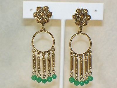 Vintage GREEN GLASS Bead DANGLE EARRINGS Beaded Gypsy style clip on