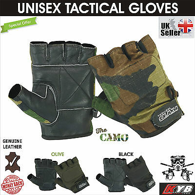CAMO Paintball Half Finger Gloves Sports Tactical Airsoft Hunting Cycling Padded