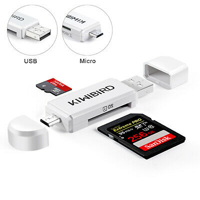 KiWiBiRD Micro USB OTG to USB 2.0 Adapter; USB 2.0 SD/Micro SD Card Reader