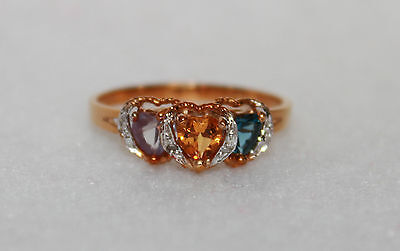 Women's 10k yellow gold gemstone ring, size 7 - NEW