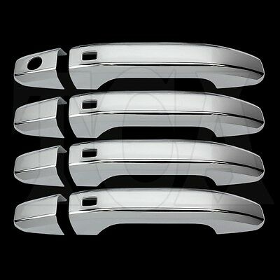 FOR CHEVY SUBURBAN 2015 2016  17 18 CHROME 4 DOOR HANDLE COVERS W/ SMART Keyhole