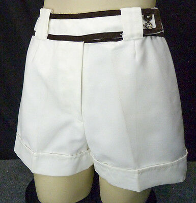 Vintage 60s White Cotton Beach Shorts XS w/Brown Trim Belt Look Hot Pants Cuffed