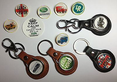 High Quality Land Rover Real Leather Key Rings & Badges + Free Phone Sticker