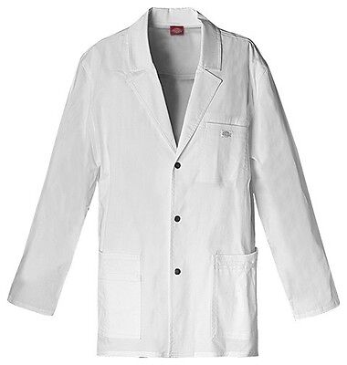 "Dickies 31"" Men's Snap Front Lab Coat 81403 DWHZ White Free Shipping"