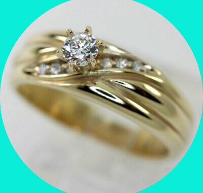 Diamond engagement ring 14K yellow gold VS round brilliant gem crossover .35CT!