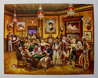 Lee Dubin POKER SALOON Hand Signed Limited Edition Lithograph Western Art