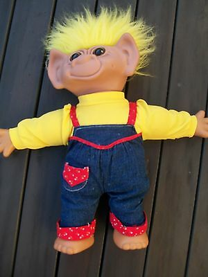 vintage rare troll doll soft body made by uneeda 45cm giant size