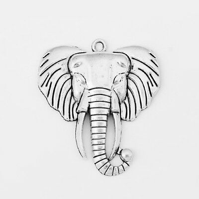 3 Large Antique Silver Tone Elephant Charms Pendants 55mm For Jewellery Making