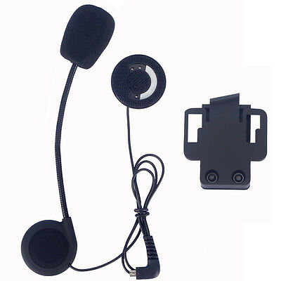 Helmet Mic Headset+Clip for Bluetooth Intercom Motorcycle Touring BT Interphone