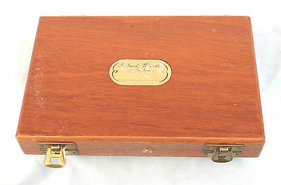 """7.1/2"""" x 5 Whetley Mahogany Fly storage case with 40 double hook salmon flies"""