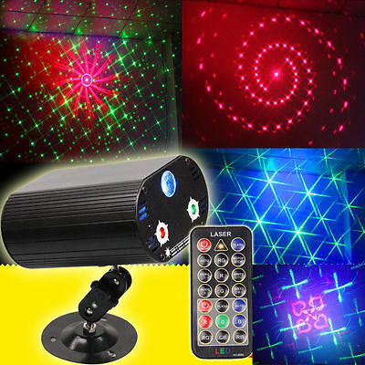 9W RGB LED Laser Stage Effect Light Disco DJ Party Sound Auto Projector + Remote