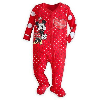 Disney Store Minnie Mouse Red Polka Dot Baby 1pc Pajamas PJs Size 0-3 3-6 Months