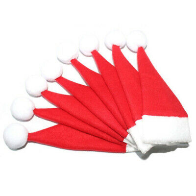 8pcs New Christmas Xmas Hat Silverware Holder Mini Red Santa Claus Cutlery Bag B