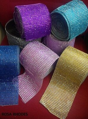 Diamond Mesh Wrap Ribbon  - Diamante Effect - Various Colours
