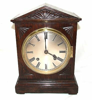 Superb Antique Carved Oak Bracket / Mantel Clock : CLEANED AND SERVICED
