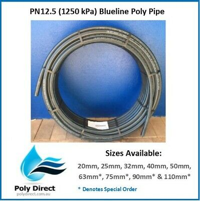 POLY PIPE (BLUELINE) Metric HIGH DENSITY PN12.5 40MM X 150MTR (Irrigation)