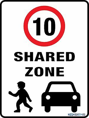 Shared Zone - Speed Limit 10Kph - 300 X 225Mm - Metal Sign - Road / Traffic Sign