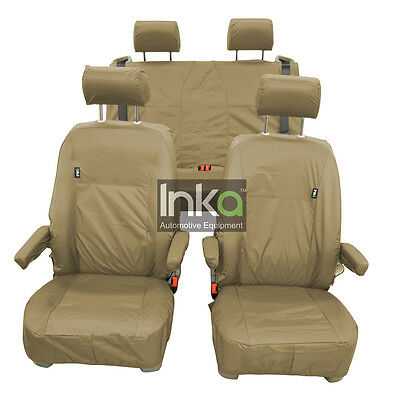 VW California T5 Front & Rear Inka Tailored Waterproof Seat Covers Beige 10 - 13
