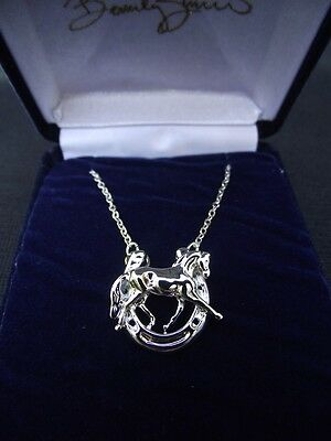 HORSE JEWELRY Dressage horse in horseshoe platinum clad necklace Zimmer design