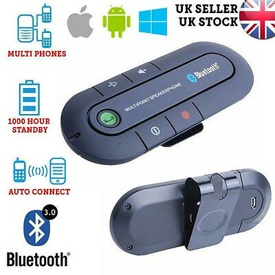 Wireless Bluetooth Hands Free Kit for Car Multi Point Speaker phone Visor Clip