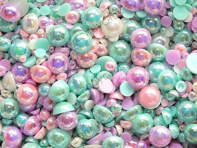 CandyCabsUK 50g Mixed Flatback Faux Half Pearls Cabochons DIY BULK BUY Sweet Pea