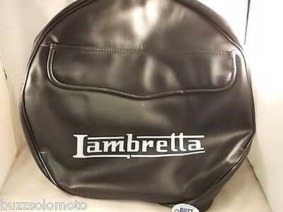 Spare Wheel Cover In Black With White Logo and Pocket to fit Lambretta