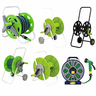 Outdoor Garden Watering 15m 25m 60m Flat Hose Pipe Reel Trolley Hosepipe Cart