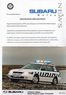 Subaru Legacy Rapid Resonse Organ Transporter Press Release/Photo 1997 Ambulink