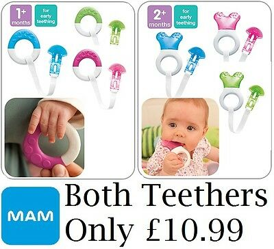 MAM Starter & Clip Teether, Mini Cooler & Clip Teether, Chill Teething Ring