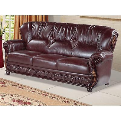 Meridian 639 Mina Living Room Sofa in Burgundy Bonded Leather Traditional Style