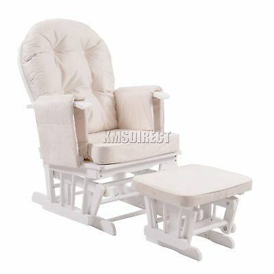 FoxHunter Nursing Glider Maternity Rocking Chair With Stool White Frame Cream