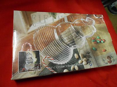 NIB- FIFTH AVE. Crystal Glass SNOWMAN Serving Platter / Dish