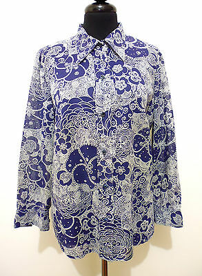 CULT VINTAGE '70 Camicia Donna Cotone Cotton Flower Woman Shirt Sz.S - 42