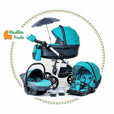 Pram Pushchair 3in1 ``Maximo Eko`` Travel System Buggy Optional Car Seat+Covers