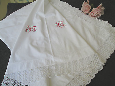 "Antique Cotton Sheet W/ Hand Made Lace.. Turkey Red Monogram ""rc""...80"" X 112"""